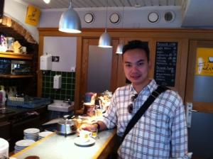 a sip of espresso in Stockholm